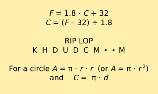 Formulas and Acronyms